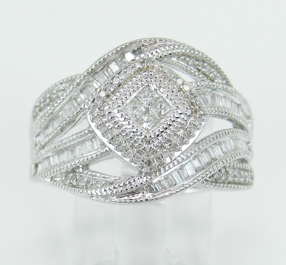 Diamond Cluster Ring Crossover Multi Row Anniversary Band White Gold Size 7.25
