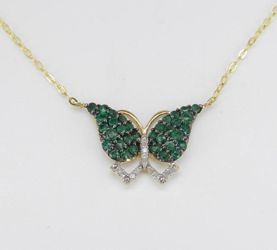 """Diamond and Emerald Butterfly Pendant Necklace Yellow Gold 17"""" Chain"""