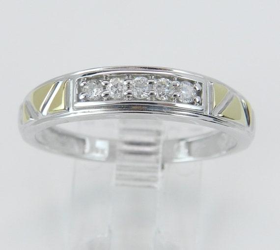 Men's Diamond Wedding Ring Anniversary Band Yellow White Gold Size 10