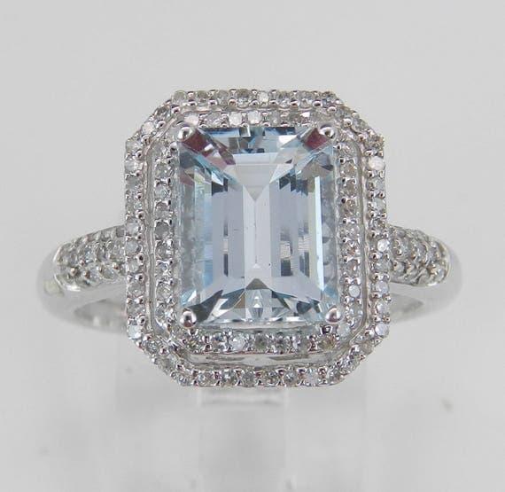 Diamond and Aquamarine Aqua Double Halo Engagement Ring 14K White Gold Size 7.25 March Birthstone