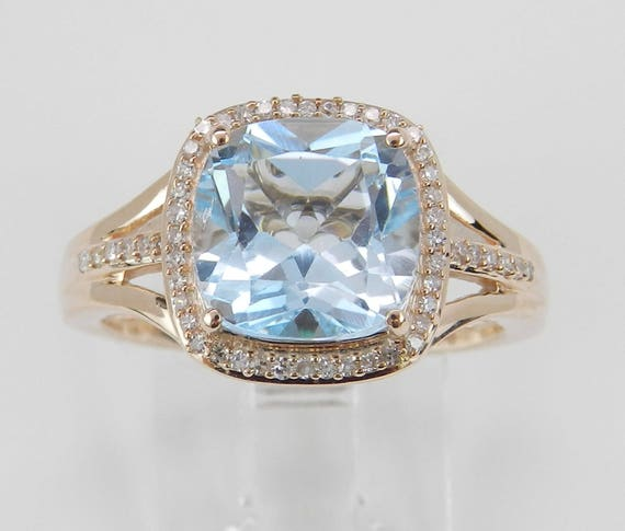 Diamond Emerald and Blue Topaz Halo Engagement Ring Cushion Cut Rose Pink Gold Size 6.75