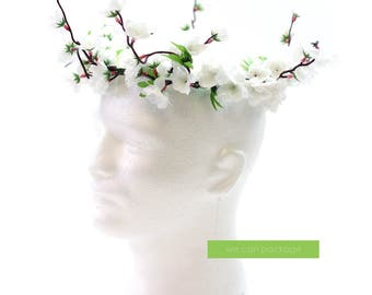 White Cherry Blossom Flower Crown | Hipster Flower Hat | Bohemian Festival Accessories
