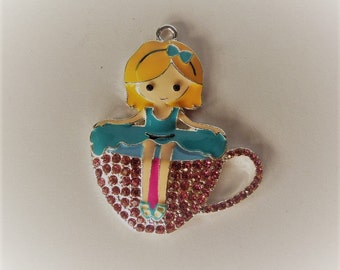 47mm*39mm Rhinestone and Enamel Girl in a teacup pendant, P18