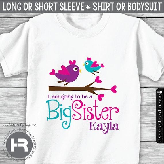 Bird Big Sister Shirt or Bodysuit - I'm Going To Be A Big Sister Shirt - Pregnancy Announcement Shirt - Monogram Big Sister Gift