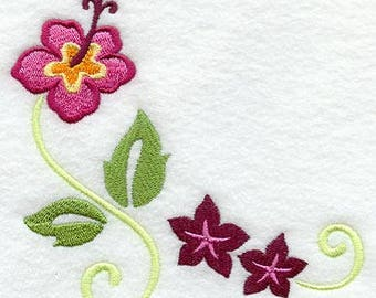 Tropical Hibiscus Corner Embroidered on Kona Cotton Quilt Block