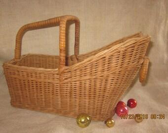 Vintage French/Italian  Willow Wine Bottle Basket/Holder/Wine Bottle Carrier/Picnic Basket for Wine