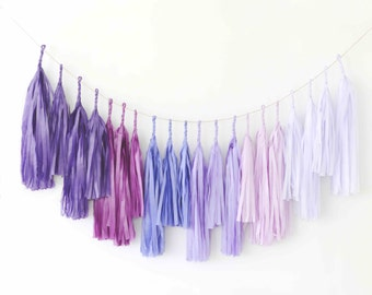 Ombre purple Tassel Garland / fringe Banner-  Party Decor, Party, Weddings / fully assambled
