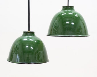 Green Porcelain Pendant Lamp Set, Industrial Vintage Lighting / Decor