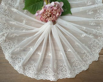 """10 yard 22cm 7.08"""" wide beige tulle gauze mesh fabric embroidered tapes ribbon lace trim C8B232L0519W free ship"""