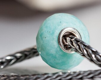 Gemstone Amazonite faceted bead fits charm bracelets small core