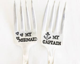 My Captain and My Mermaid. Popular Wedding Cake Fork Set. Hand Stamped Cake Forks. Nautical Wedding. Anchors.
