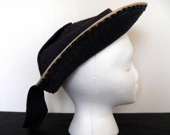 Vintage Ladies Hat - Black Hat - Netting Hat - Black White Hat - Tilt Top Hat - Accessory - Millinery - Tulle Couture Hat - 1930's Apparel