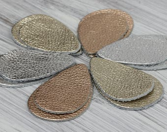 12pcs Metallic Leather Teardrops, Silver Leather Rose Gold  Genuine Leather