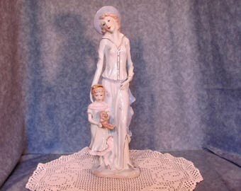 Figurine of Mother and Daughter / Tall Mother and Daughter Porcelain Figurine