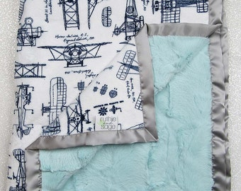 Minky Blanket | Aviator Blanket | Airplane Blanket | Airplane nursery | navy and aqua | Baby boy blanket | Navy and Grey | RKC aeroplanes |
