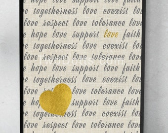 Respect Love Tolerance 'A different kind of Love this Valentine' Wall art