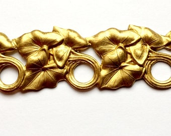 Vintage Brass Bar, Leafy Bracelet Bar, Vine with Loops, Vintage Jewelry Supplies, Patina Brass, B'sue Boutiques, 1 x 4.5 Inches, Item0453