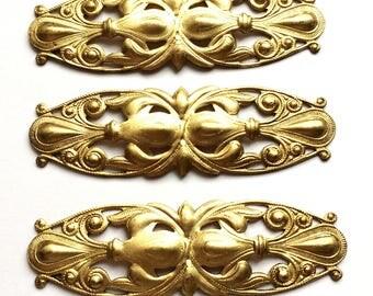 Vintage  Bracelet Bar, Vintage Cuff Base, Victorian Bracelet Bar, Jewelry Making, Patina Brass, US Made, 21 x 70mm, B'sue Boutiques,Item0887