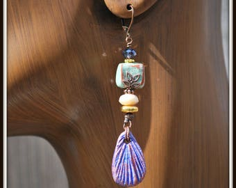 Clay Earrings, Stoneware Earring, Cobalt Blue Earrings, Long Clay Earrings, Teardrop Pendant Earrings, Blue and Green Earrings