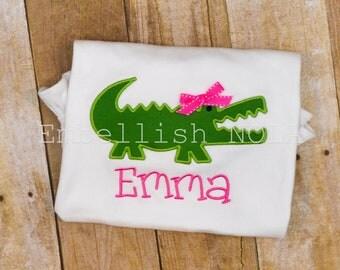 Girly Alligator with Bow Applique Shirt or Bodysuit Gator Shirt