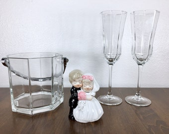 Luminarc Octime Champagne Glass and Ice Bucket Set Octagonal Glasses