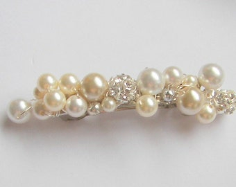 "Fancy Bridal Pearl Barrette, Beige (Cream) - White Pearl - ""Fireball"" Barrette Pearl Hair Accessory Bridesmaid Barrette Wedding Hair Jewelry"