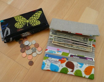 Wallet, Butterfly wallet, ladies wallet, fold over money wallet, Designers Guild Butterfly Parade Purse