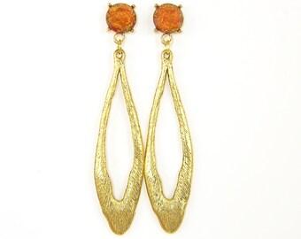 Long Gold Post Earrings, Rust Earrings, Long Oval Earrings, Long Red Gold Earrings, Long Textured Earrings, Rust Dangle Earrings |EC3-49