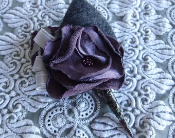 SHOP CLOSING SALE / Handmade Fabric Flower Boutonniere / Violet / Gray / Prom / Wedding