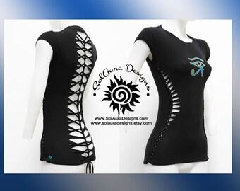 ORIGINAL EYE of HORUS - Juniors / Womens Cut, Weaved Top - Yoga Wear, Festival Wear, Club Wear, Beach Wear - T-4025