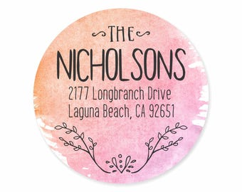 Blush Peach Lavender Watercolor Personalized Address Labels Stickers
