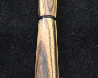 Handturned Wooden Rollerball Pen – Black & White Ebony