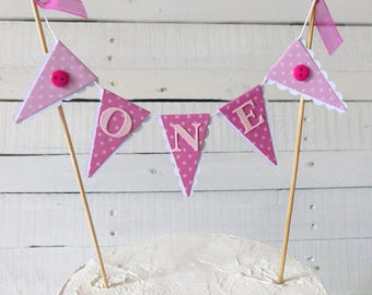 Girl's First Birthday Cake Bunting Topper - Pink ONE Topper with Polka Dots & Buttons