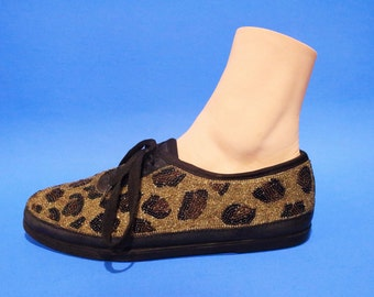 Vintage 90s Leopard Style Beaded Sneakers Club Kid Hipster Size 7 8