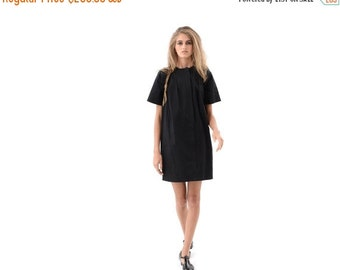 SALE 50% OFF Classic Black Shirt Dress for Day or Evening, Cute Everyday Casual Dress with Short Sleeves and Pockets, Trendy Fashion Dress w