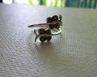 Sterling Silver Delicate Butterfly Ring with Marcasite Chips