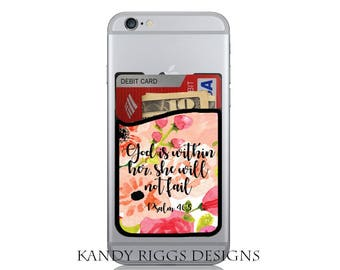 Scripture iPhone Credit Card Holder-Adhesive iPhone Card Holder-Cell Phone Card Caddy-ID Credit Card Holder-iPhone Case-Bible Verse