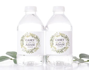 "Wreath Wedding Water Bottle Labels - Wedding Favors - Need a different quantity? Click on the ""choose total"" tab to see all pricing"