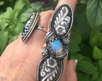 Spring vibes!! Moonstone and Floral Sterling ring Bohemian boho