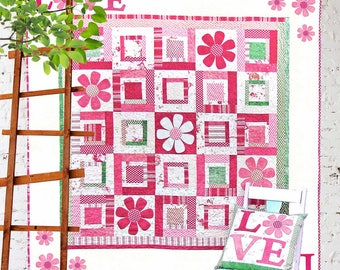 All you Need is Love | Quilt Patterns | PDF Pattern | Quilts | Floral Quilts | Applique Quilts | Valentine | Log Cabin Quilt