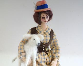 Bathsheba Everdeen posable cloth art doll needle felt white sheep soft sculpture