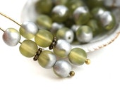 6mm Round Druk beads, Matte Olivine, Silver Coating, Olive green glass beads, czech spacers, pressed glass - 30Pc - 2592