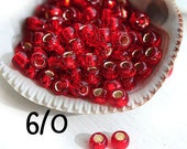 Red TOHO Seed beads, size 6/0, Silver-Lined Ruby, N 25C, red round japanese glass beads - 10g - S367