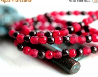 ON SALE Rustic Red czech glass beads mix for jewelry making - round spacers, druk, small - 3mm - approx.200Pc - 1289