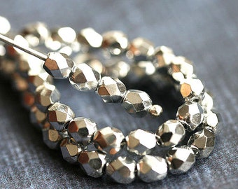 4mm Silver Czech glass beads, Bright Silver fire polished spacers, round beads - 50Pc - 1634