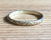 Antique Ring Vermeil Ring Carved Ring Edwardian Jewelry Stamped From An Old Stock Never Been Worn Ring Size 8.75US Re Sizeable
