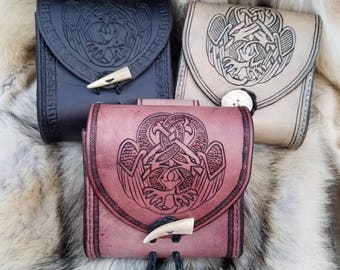 Leather pouch with entwined Celtic birds, made to order