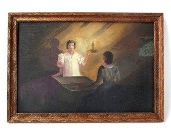 Mysterious Woman with Candle Painting, antique art, 1935, primitive art, dowry, modernism, oil painting