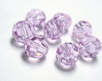 8mm Swarovski Crystal Violet #5000 Faceted Round Beads - 8 Beads