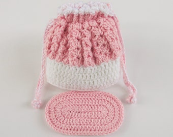 Crochet Cradle Purse in Pink and White with Pink Doll Mattress